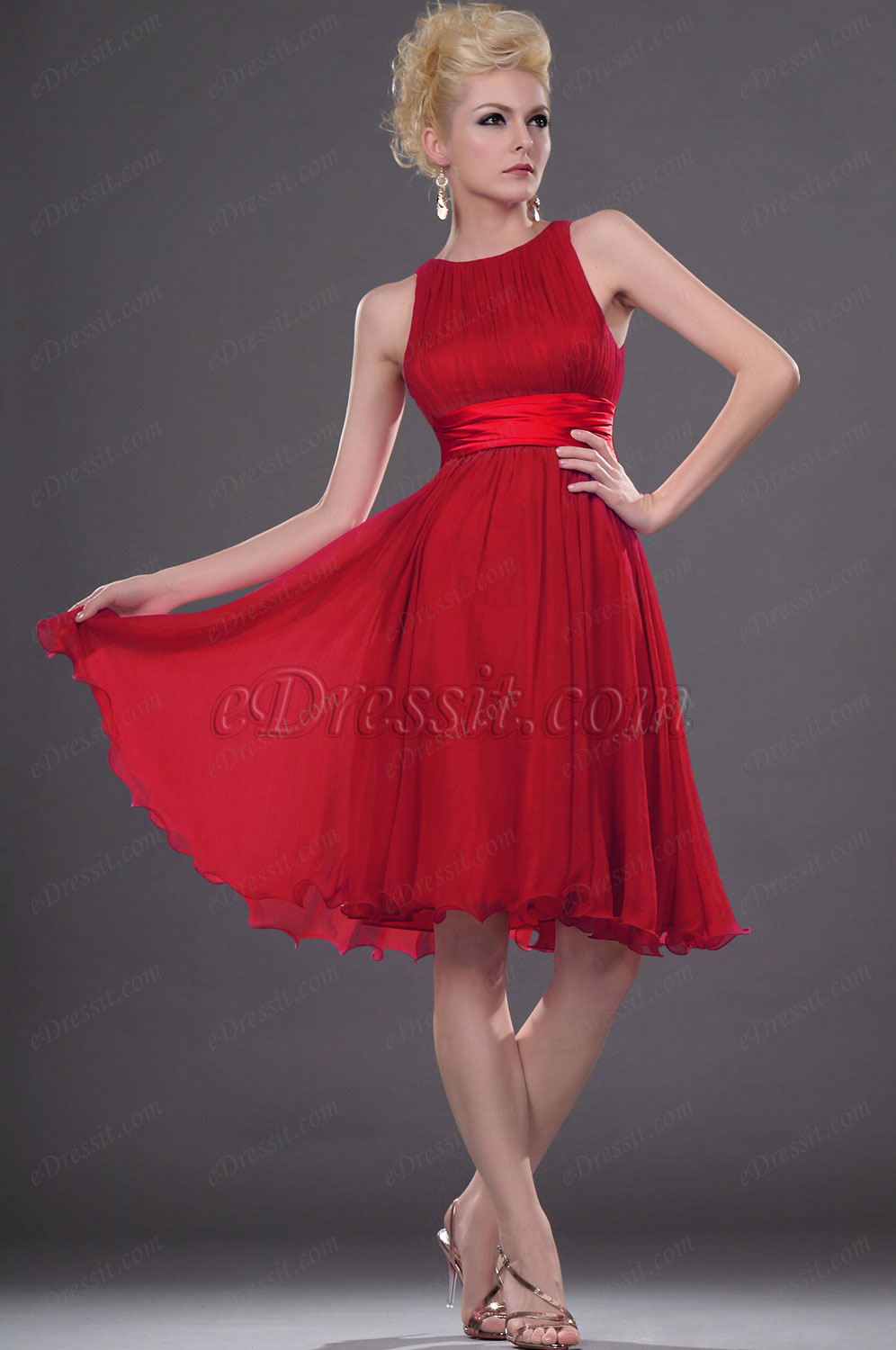 Clearance Sale ! eDressit Red Cocktail Dress--Size UK10 (04111712b)