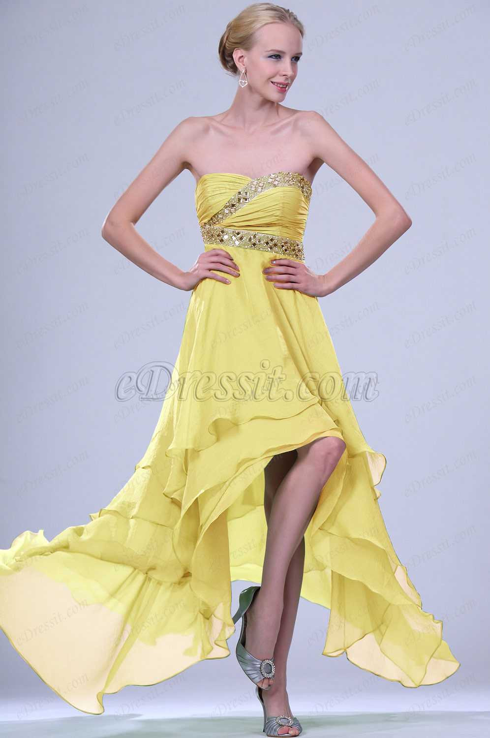 Clearance Sale ! eDressit Yellow Evening Dress--Size UK18 (00109504b)