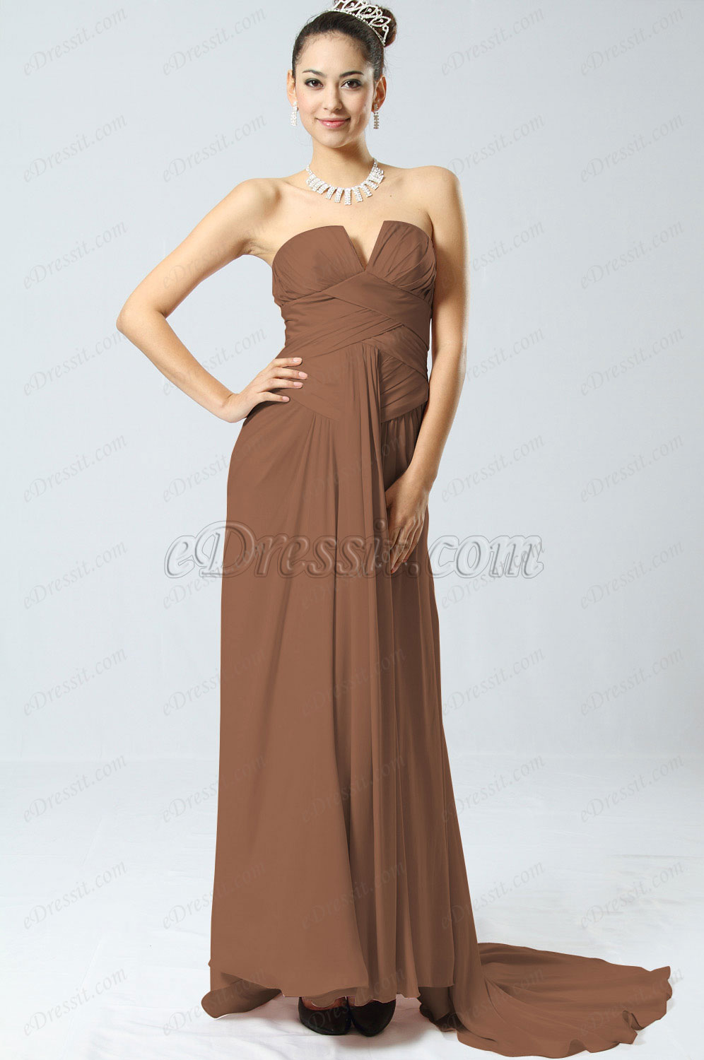 Clearance Sale! eDressit Marron Evening Dress--Size UK12 (00094201b)