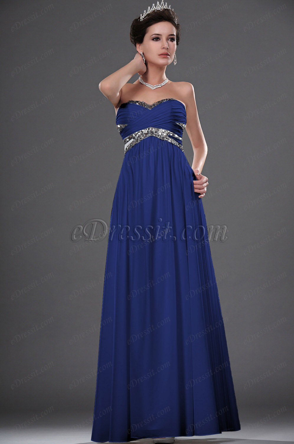 Clearance Sale ! eDressit Silver Sequin Blue Evening Dress--Size UK12 (01111607b)