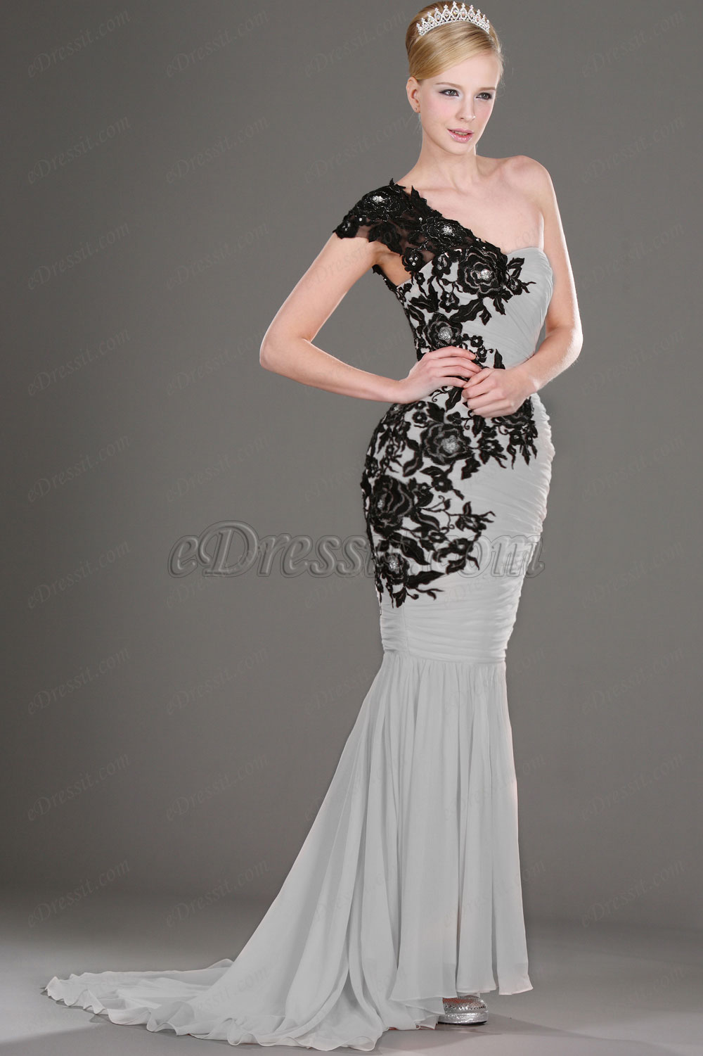 Clearance Sale! eDressit Gray Evening Dress Black Laces--Size UK20 (00106001b)