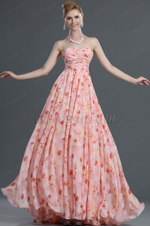 eDressit Floral Sin Tirante Vestido de Noche Largo (00107501)