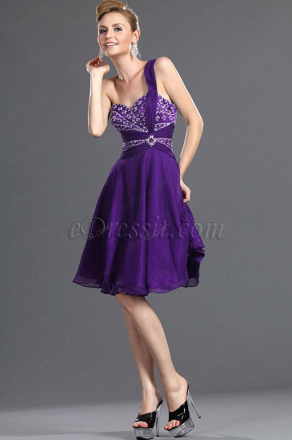 eDressit New Charming One Shoulder Purple Party Dress (35111106)