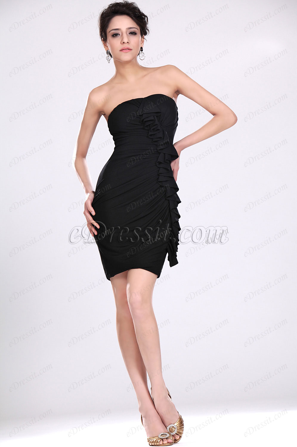eDressit New Black Strapless Fitted Party Dress (04117100)