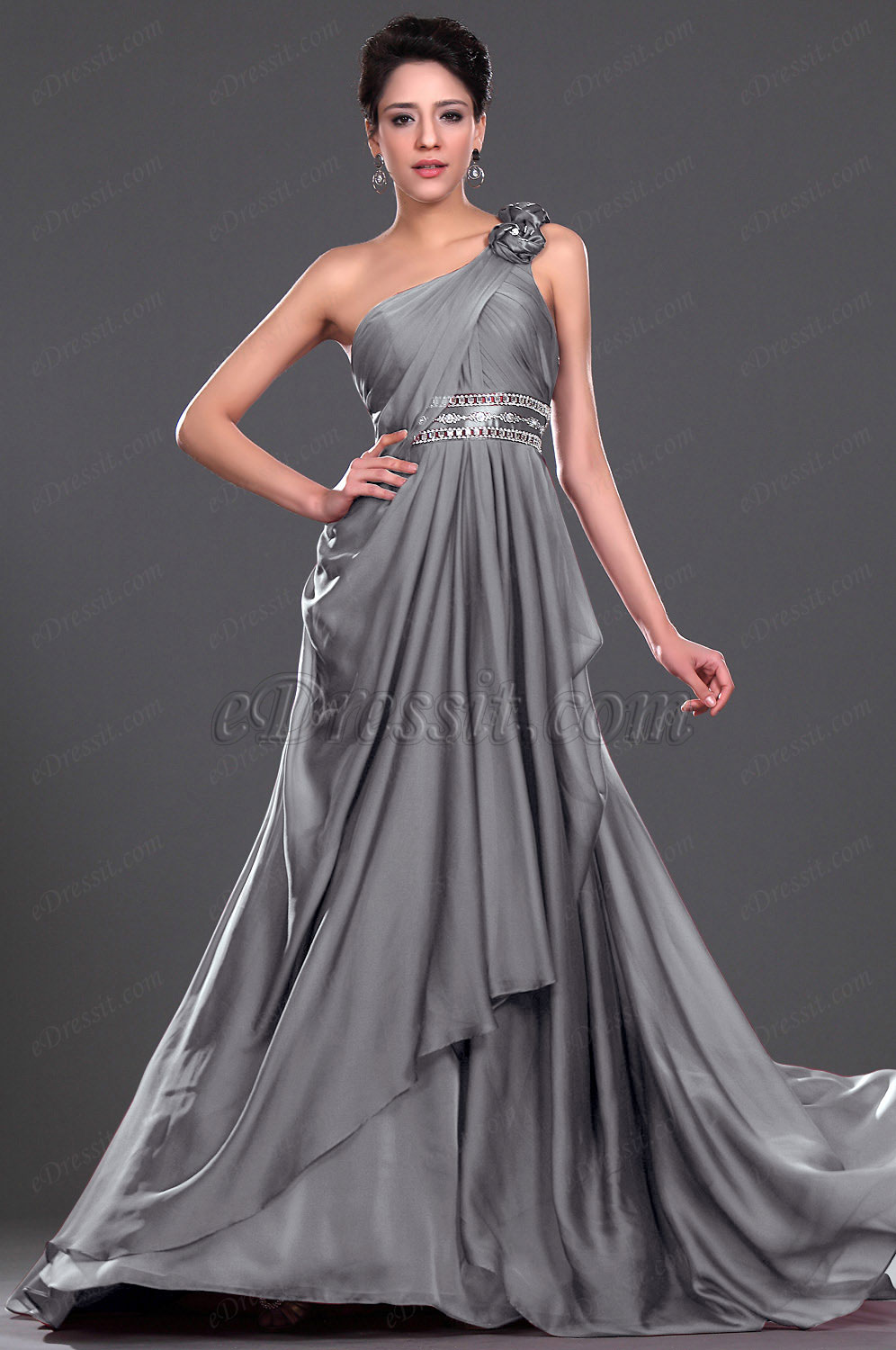 Clearance Sale!  eDressit Gray One-Shoulder Evening Dress--Size UK20 (00116617b)