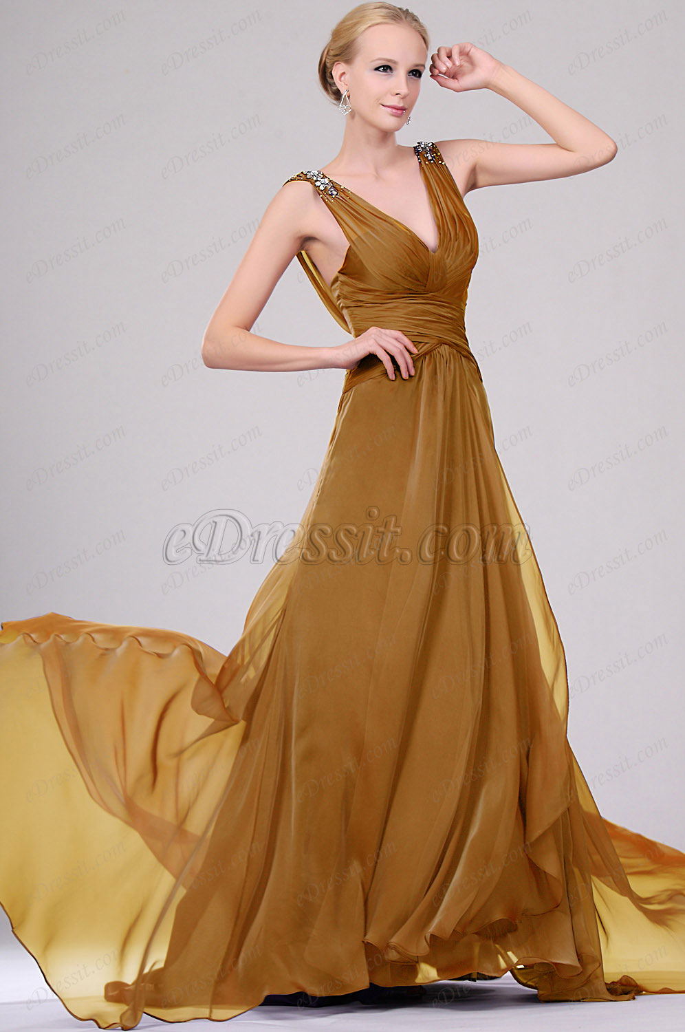 Clearance Sale !  eDressit Golden Evening Dress--Size UK8 (00109406b)