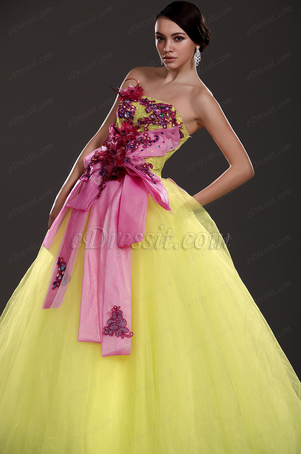 eDressit New Strapless Floral Prom Gown (31110303)