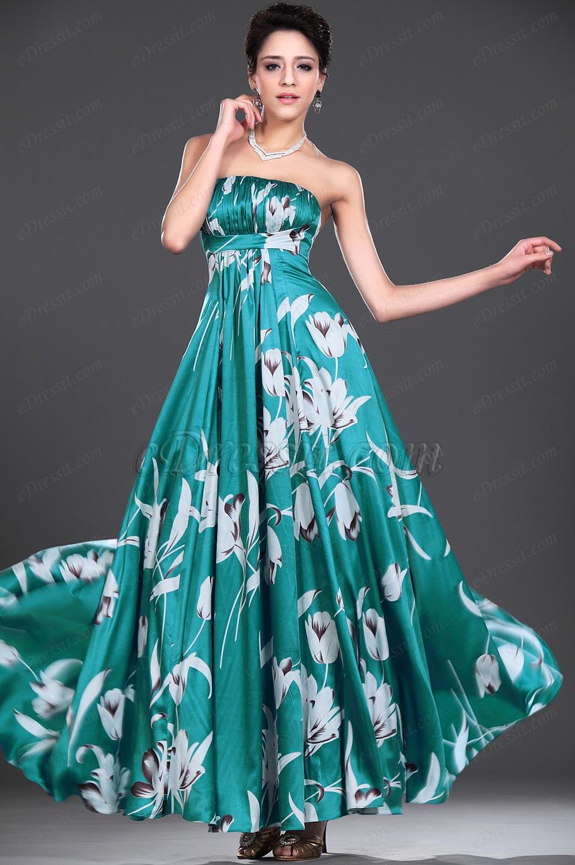 eDressit Floral Trägerlos Abendkleid (00777468)