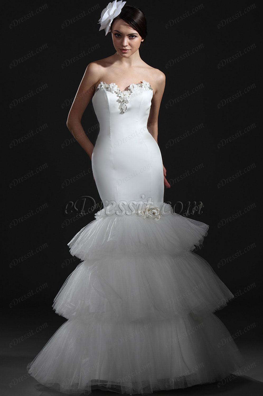 eDressit  Charming White Strapless Wedding Gown (01115207)
