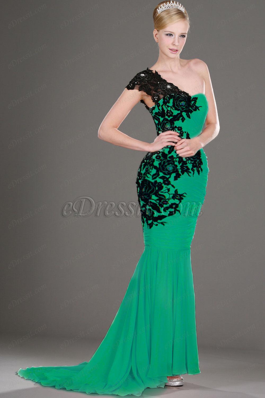 Clearance Sale! eDressit Green Evening Dress Black Laces--Size UK10 (00106001c)