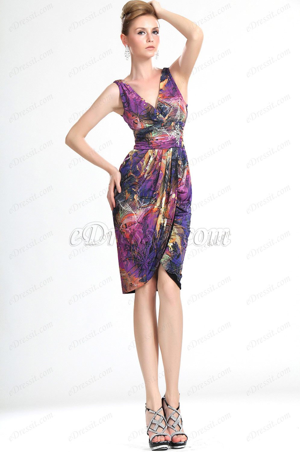 eDressit  New Stylish Floral V-Neck Outfit Day Dress (03112368)