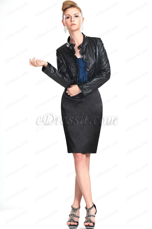 eDressit Neu Lady Schwarz Leder Jacket (03111700)