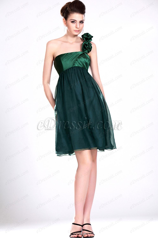 eDressit Novedad Simple Solo Hombro Verde Vestido de Dama de Honor (07111004)