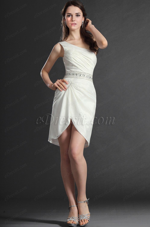 eDressit 2012 Neue Artikel Wunderbar Ein Schulter Klein Weiß Cocktail Kleid (04120207)