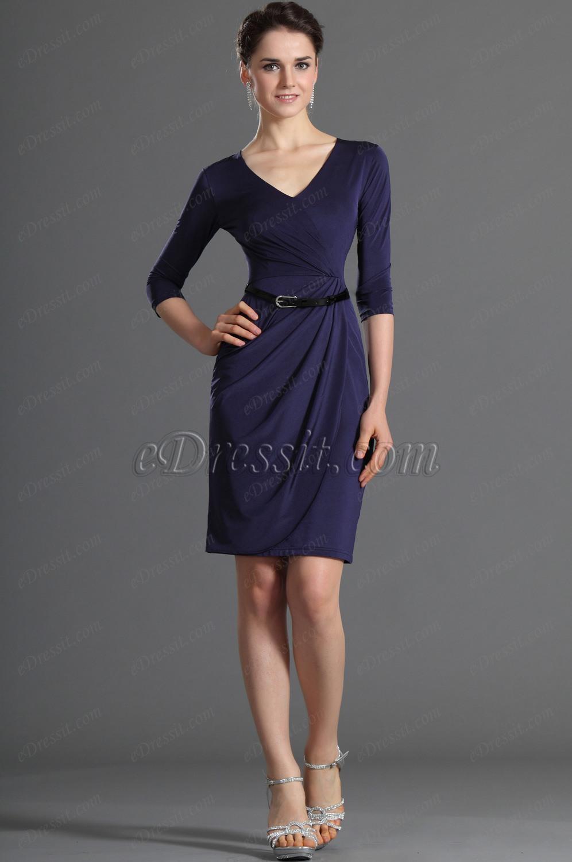 eDressit темно-синее платье на каждый день и длинные рукава (03120605)
