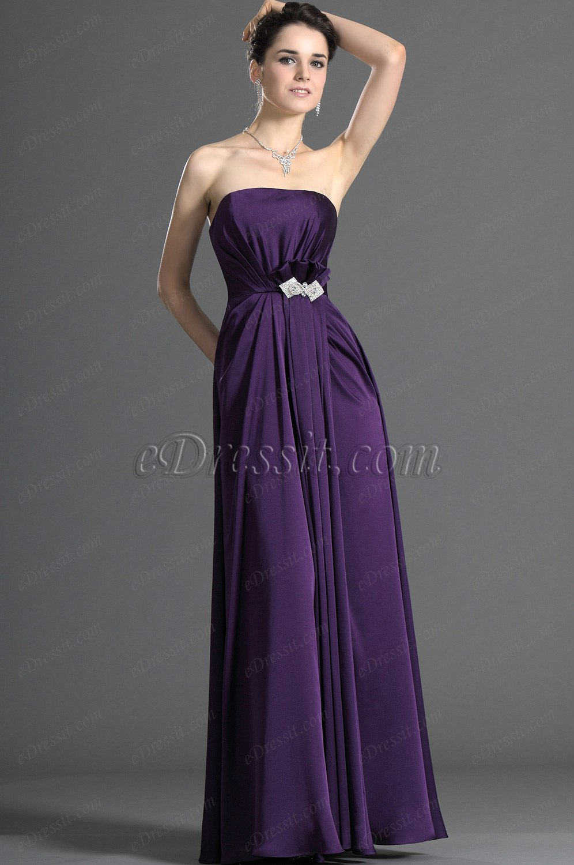eDressit Trägerlos Purple Brautjungferkleid (07121606)