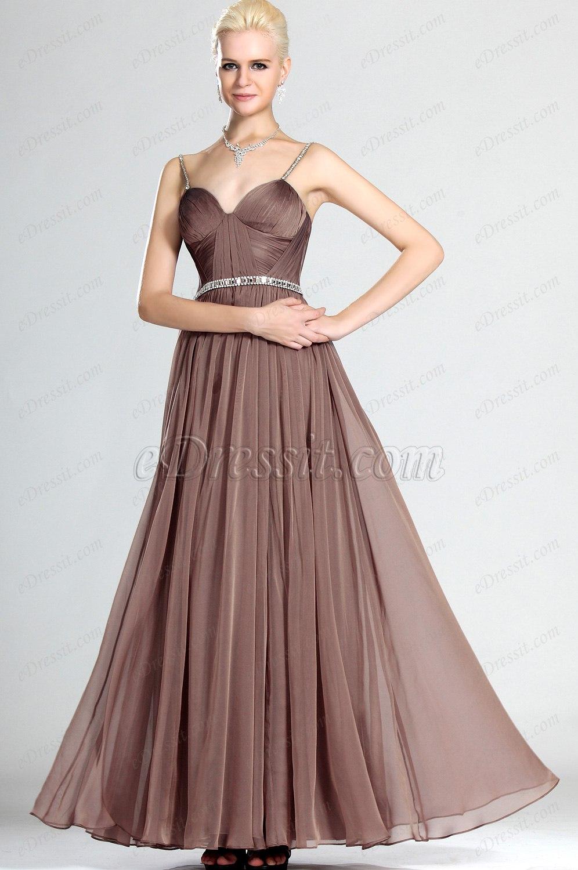 eDressit Brillante Marrón Formal Vestido de Noche Largo (00121620)