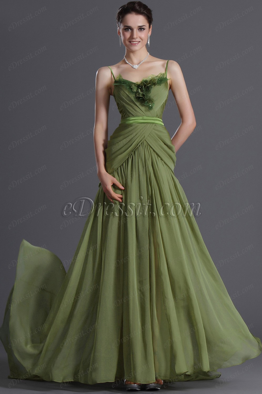 eDressit Elegante Fino Tirantes Verde Vestido  de Noche Largo (00120904)