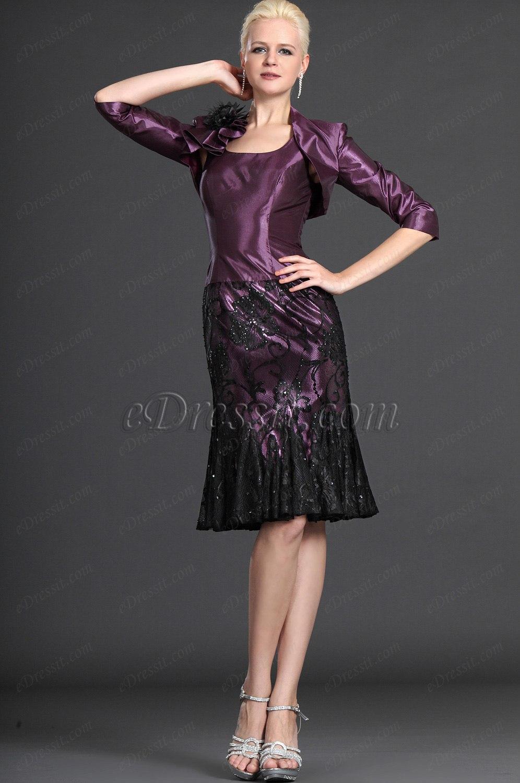 eDressit Eleganz Lila Zwei Stücke Kleid der Mutter von Braut (26123806)