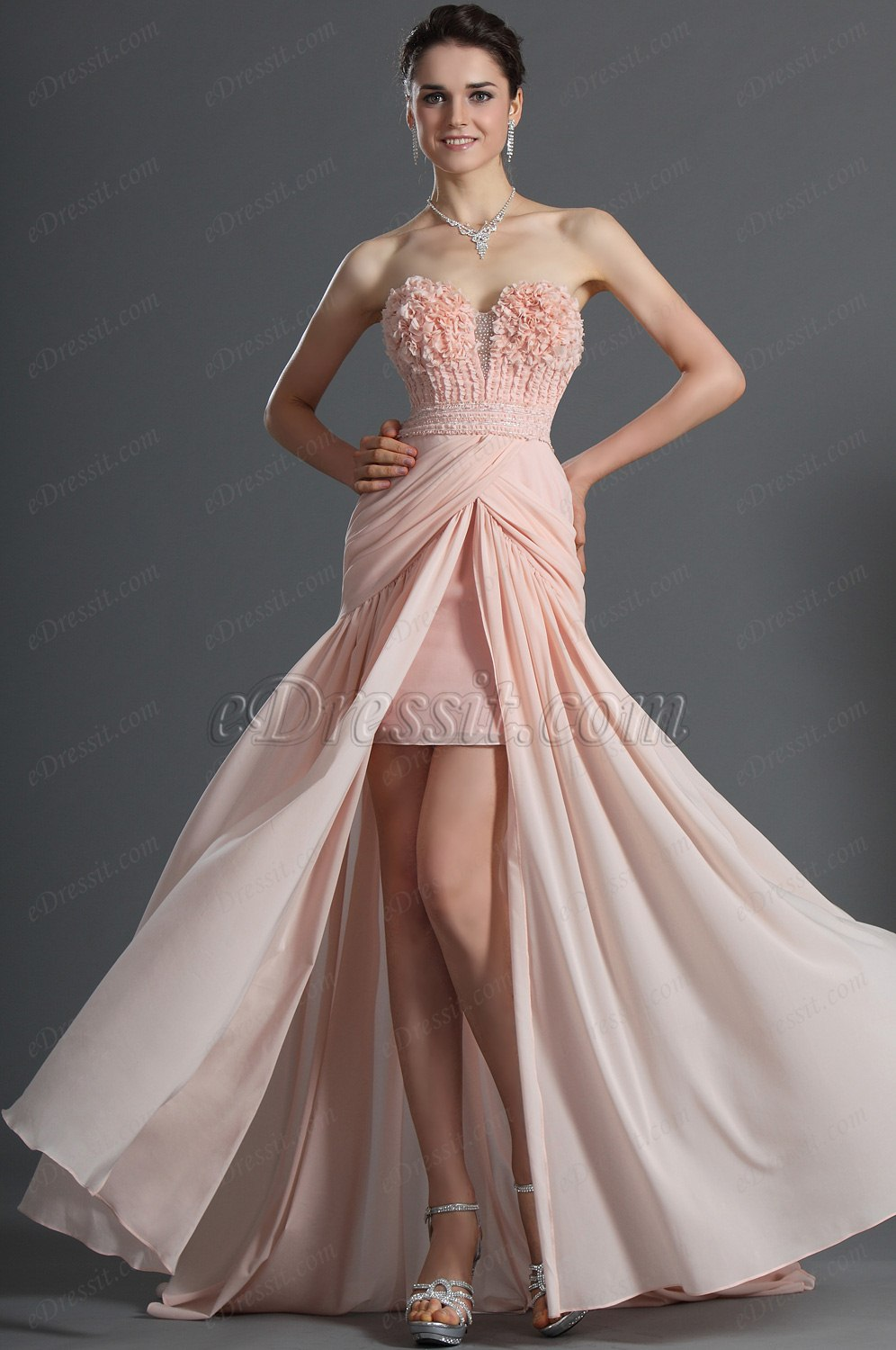 eDressit Sweetheart Neckline Strapless Pink Evening Dress (00122801)