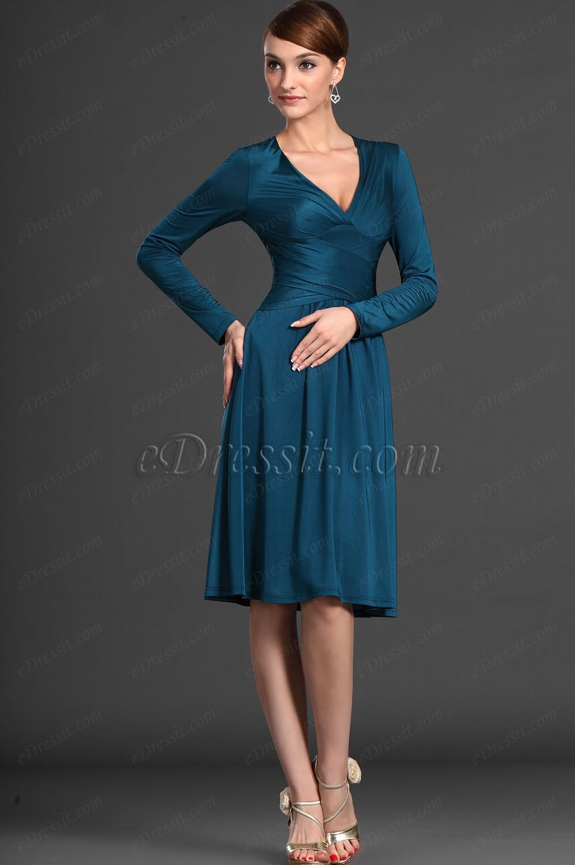 eDressit 2012 новое вечернее платье / платье на каждый день с голубоким V-декольте и длинные рукава (03121805)