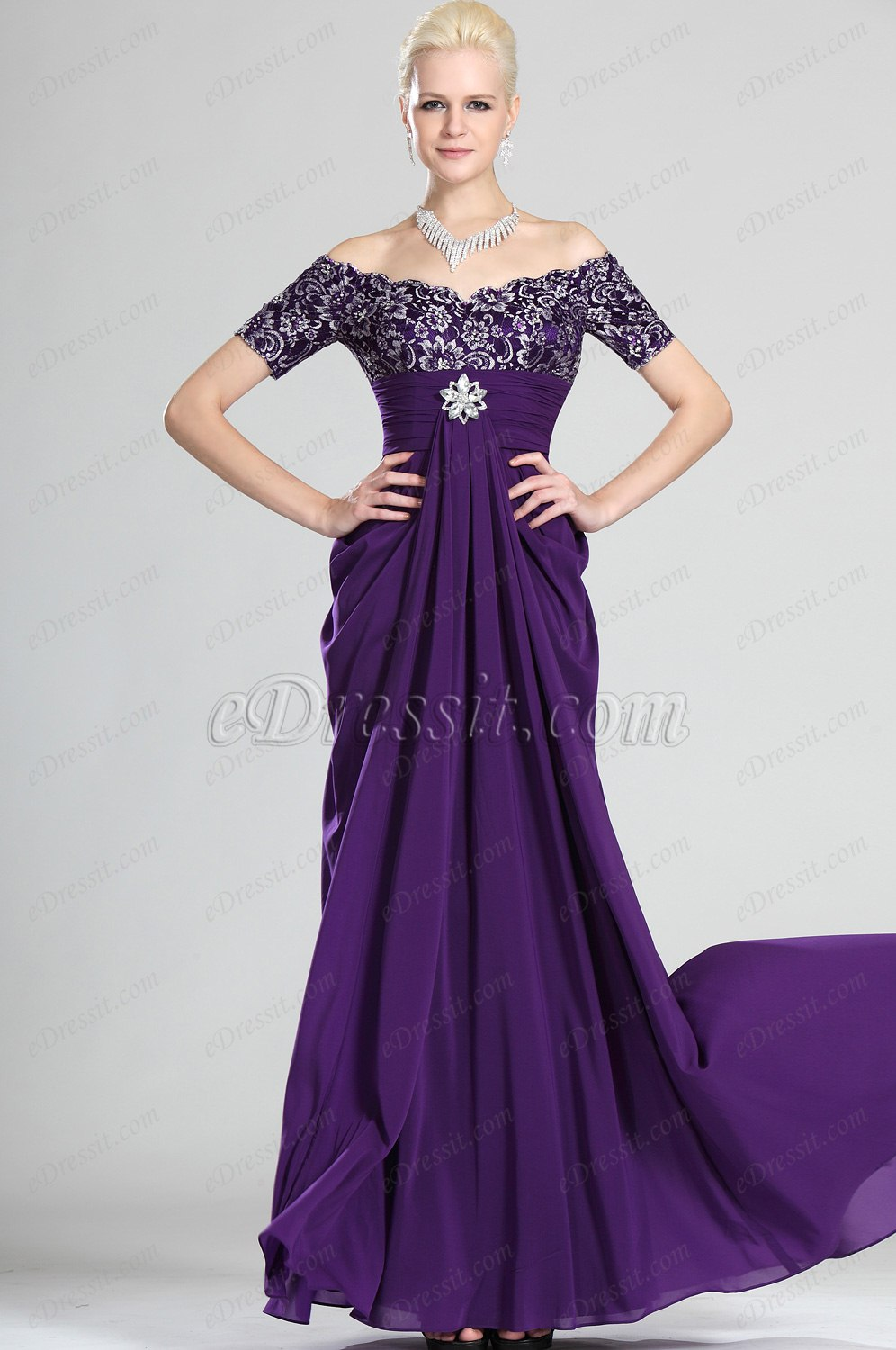 eDressit Gorgeous Purple Off Shoulder Mother of the Bride Dress (26120306)
