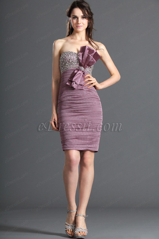 eDressit Trägerlos Glanzend Perlen Cocktail Kleid Ballkleid (04120501)