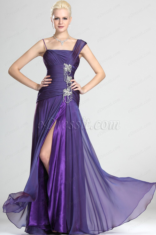 eDressit Elegant Lila Abendkleid mit Perlen und Spalt (00125306)