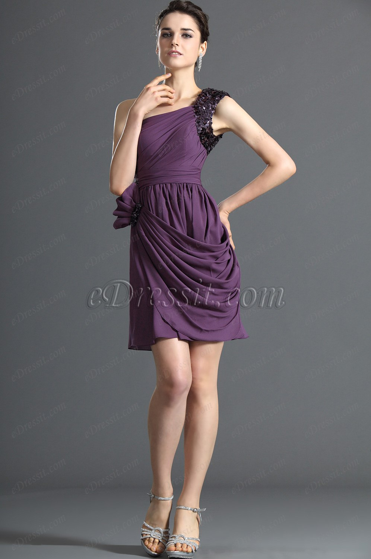 eDressit Wunderbar Ein Schulter Lila Cocktail Kleid Abiball Kleid ...