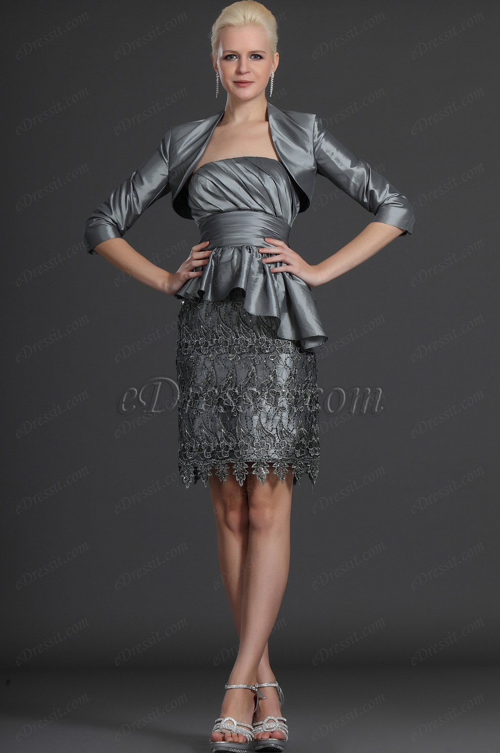 eDressit Two Pieces Gray Lace Mother of the Bride Dress (26122508)