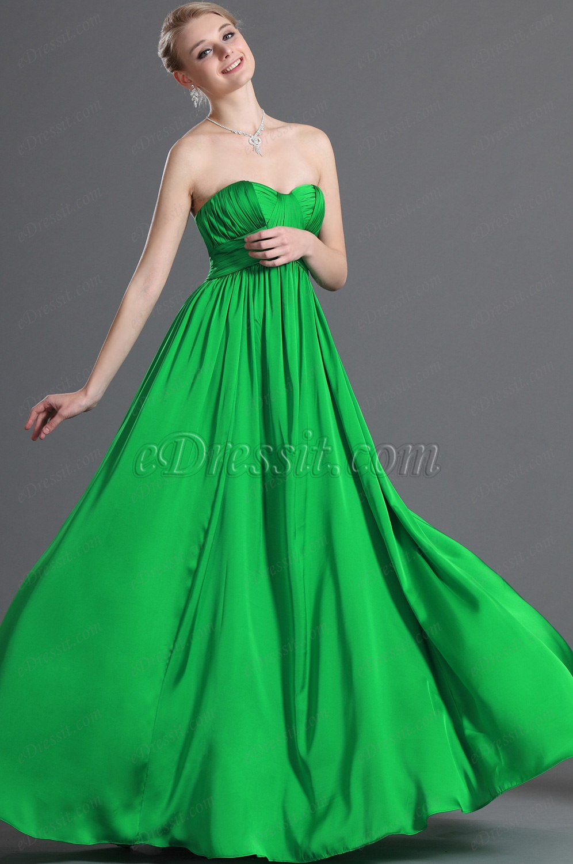 eDressit Nuevo Elegante Sin Tirante Verde Vestido de Noche (00123204)