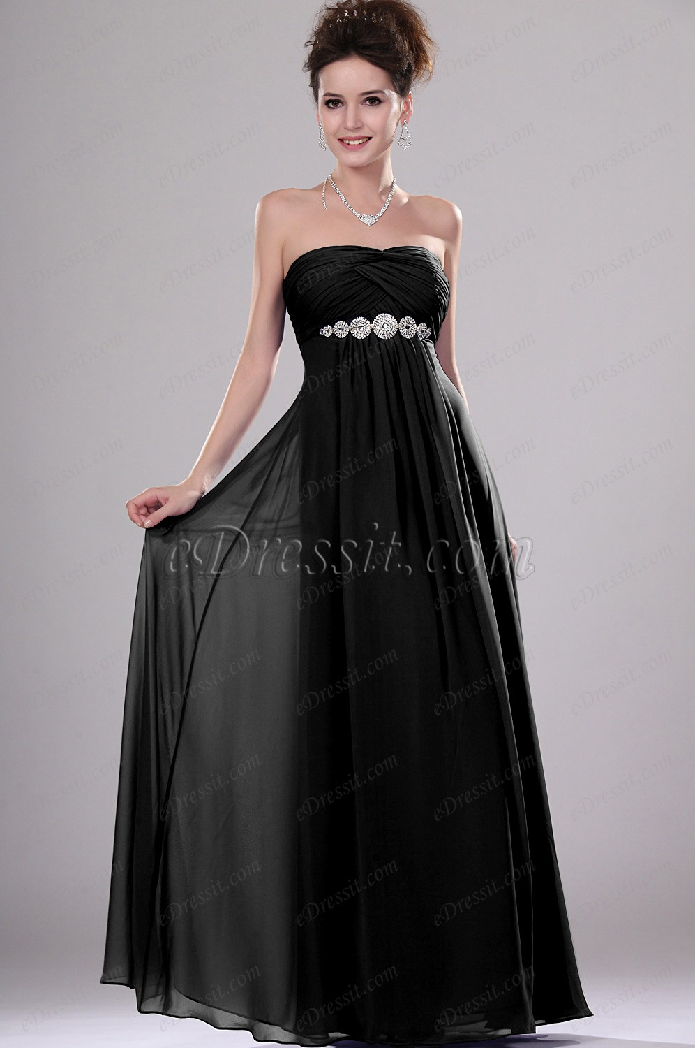 Clearance Sale ! eDressit Shimmering Beaded Strapless Evening Dress Black (00111605B)