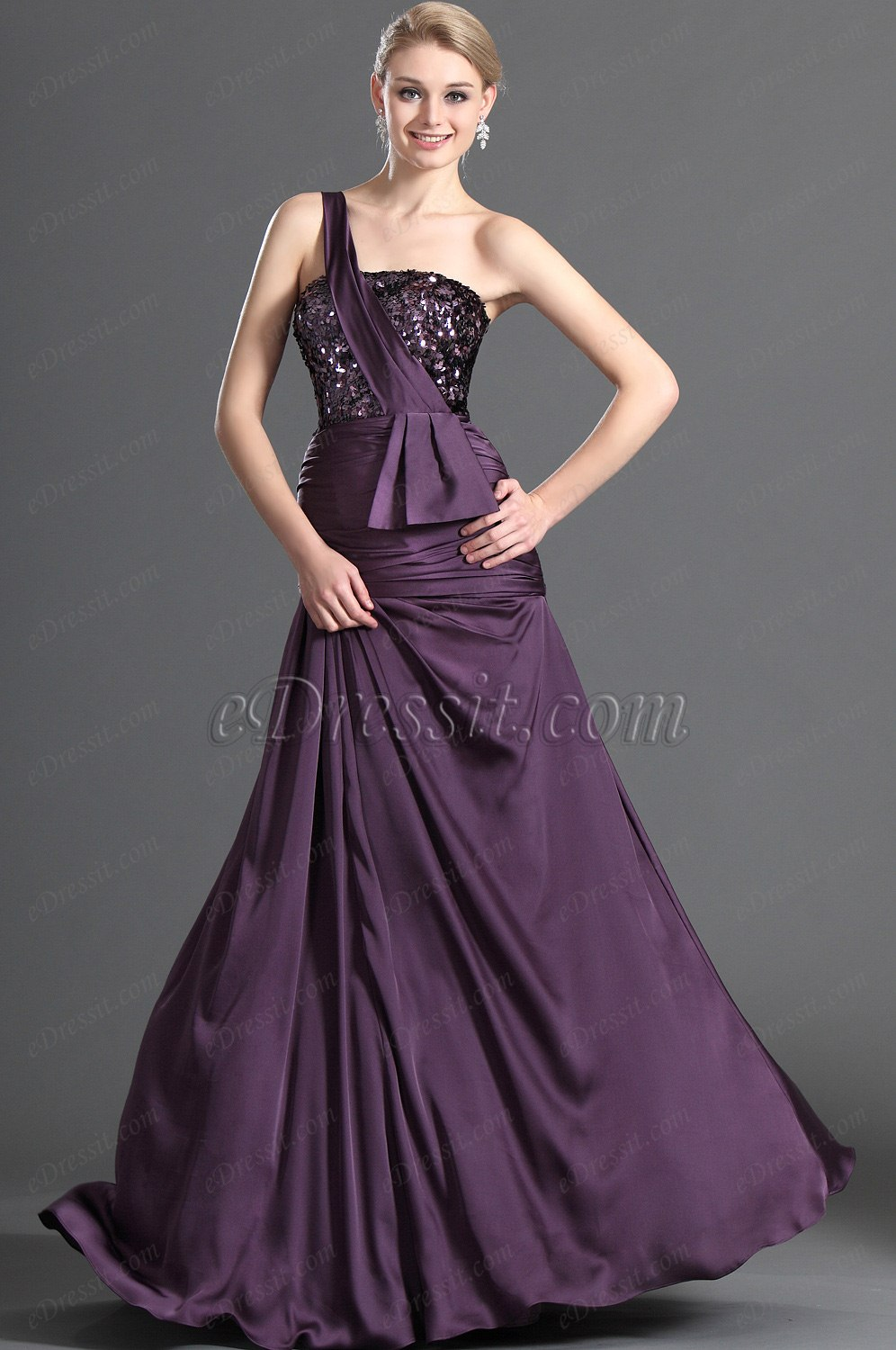 eDressit Shiny Purple One Shoulder Evening Dress (00123006)