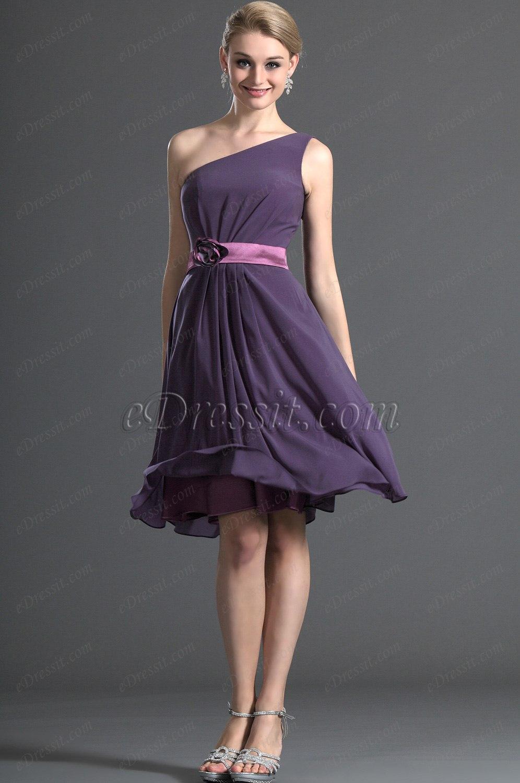 eDressit Elegant Ein Träger Purple Brautjungferkleid (07120906)