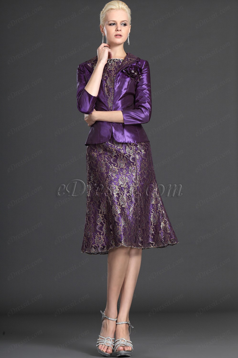 eDressit Elegant Purple Two Pieces Mother of the Bride Dress (26123106)