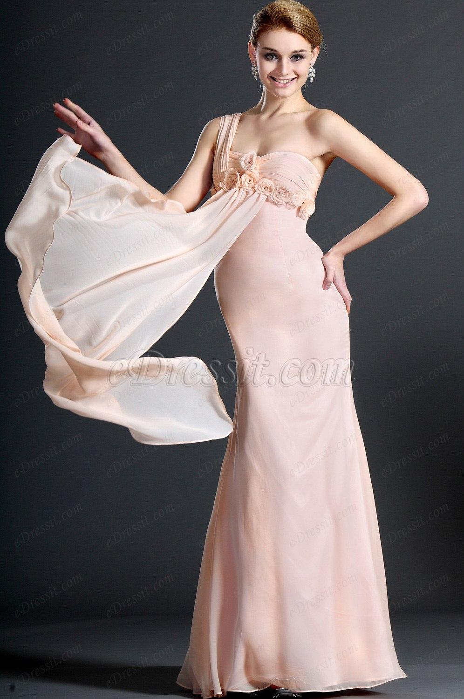 eDressit Nuevo Adoral Solo Hombro Rosado Vestido de Noche Largo (00121301)