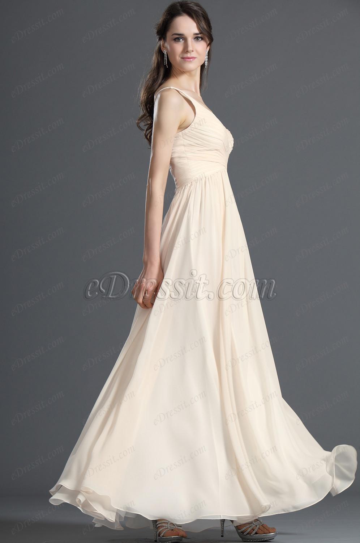 eDressit Eleganz V-Ausschnitt Beige Abendkleid Abiball Kleid (00120814)