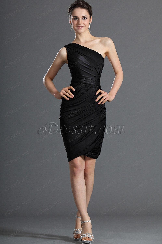eDressit Fabuloso Negro Poco Solo Hombro Vestido corto Vestido de Fiesta (03120500)