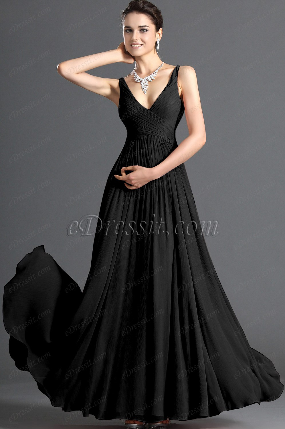 Clearance Sale !eDressit 2012 New Elegant V-cut Evening Dress  Black (00120801B)