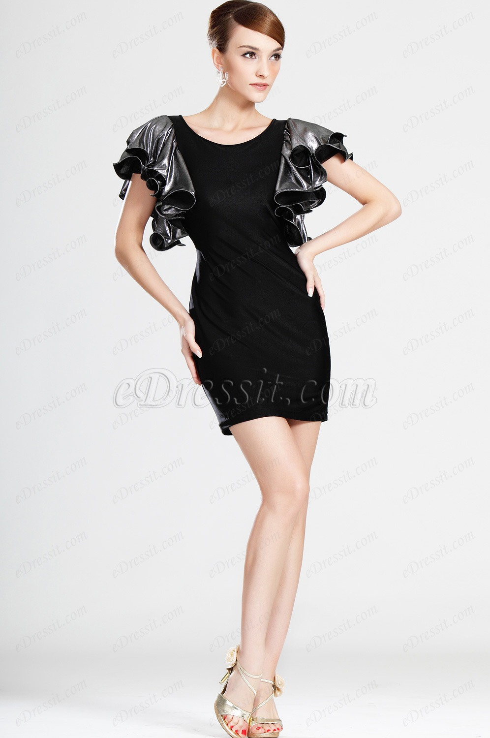 eDressit Short sleeves Black Party Dress Day Dress (03121100)