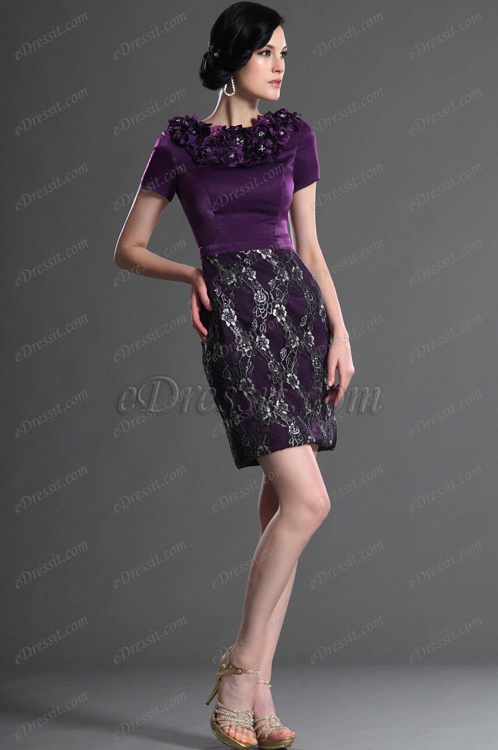 eDressit Elegant Short Sleeves Purple Mother of the Bride Dress (26125606)
