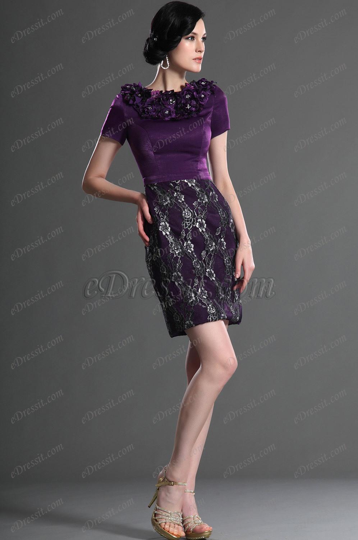eDressit Elegant Kurz Ärmeln Lila Kleid der Mutter von Braut (26125606)