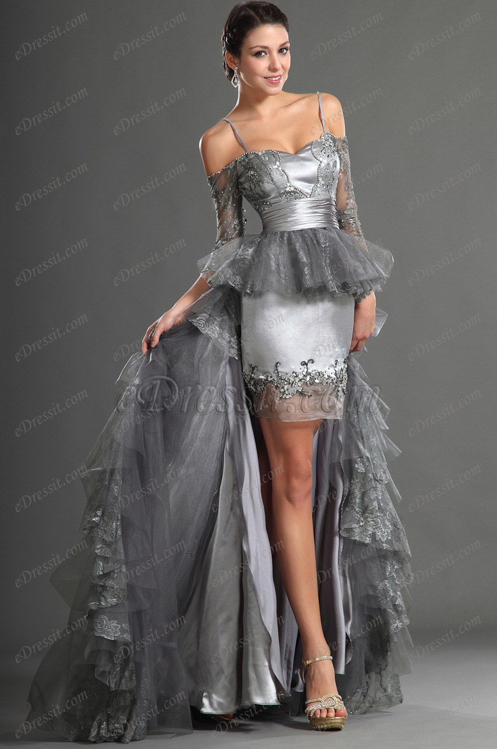 eDressit Fantastic Grey Spaghetti Straps Evening Dress Prom Gown (02121608)