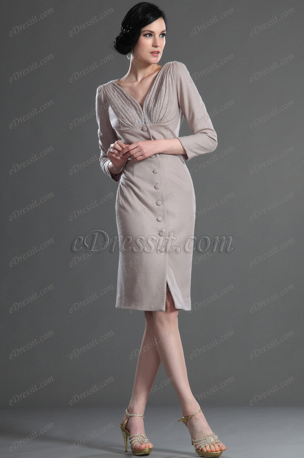 eDressit Elegant V Neck Day Dress Mother of the Bride Dress (26126714)