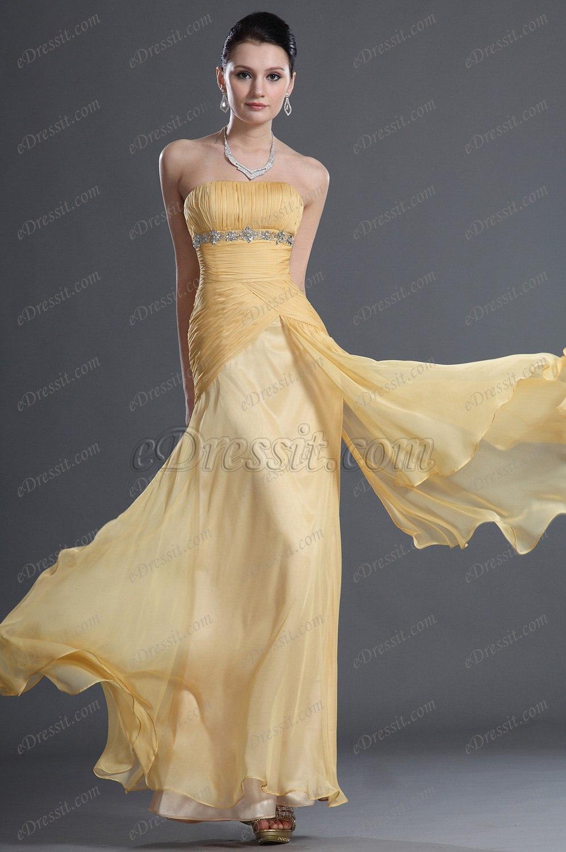 eDressit Maravilloso Amarrillo Sin Tirante Vestido de Noche (00127403)