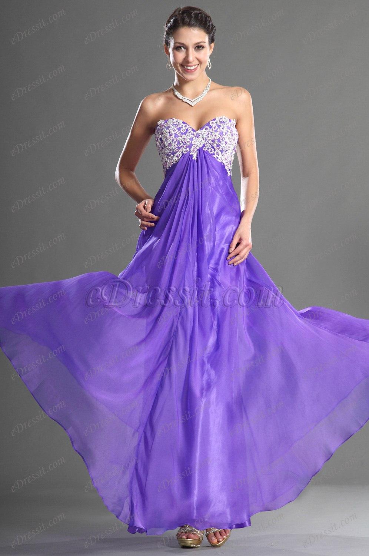 eDressit Sweetheart Strapless Purple Evening Dress (36120906)