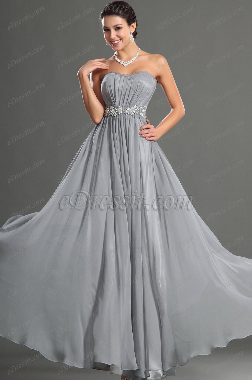 eDressit Fantastico Gris  Escote de Cariño Vestido de Noche con adornos decorados (02122108)