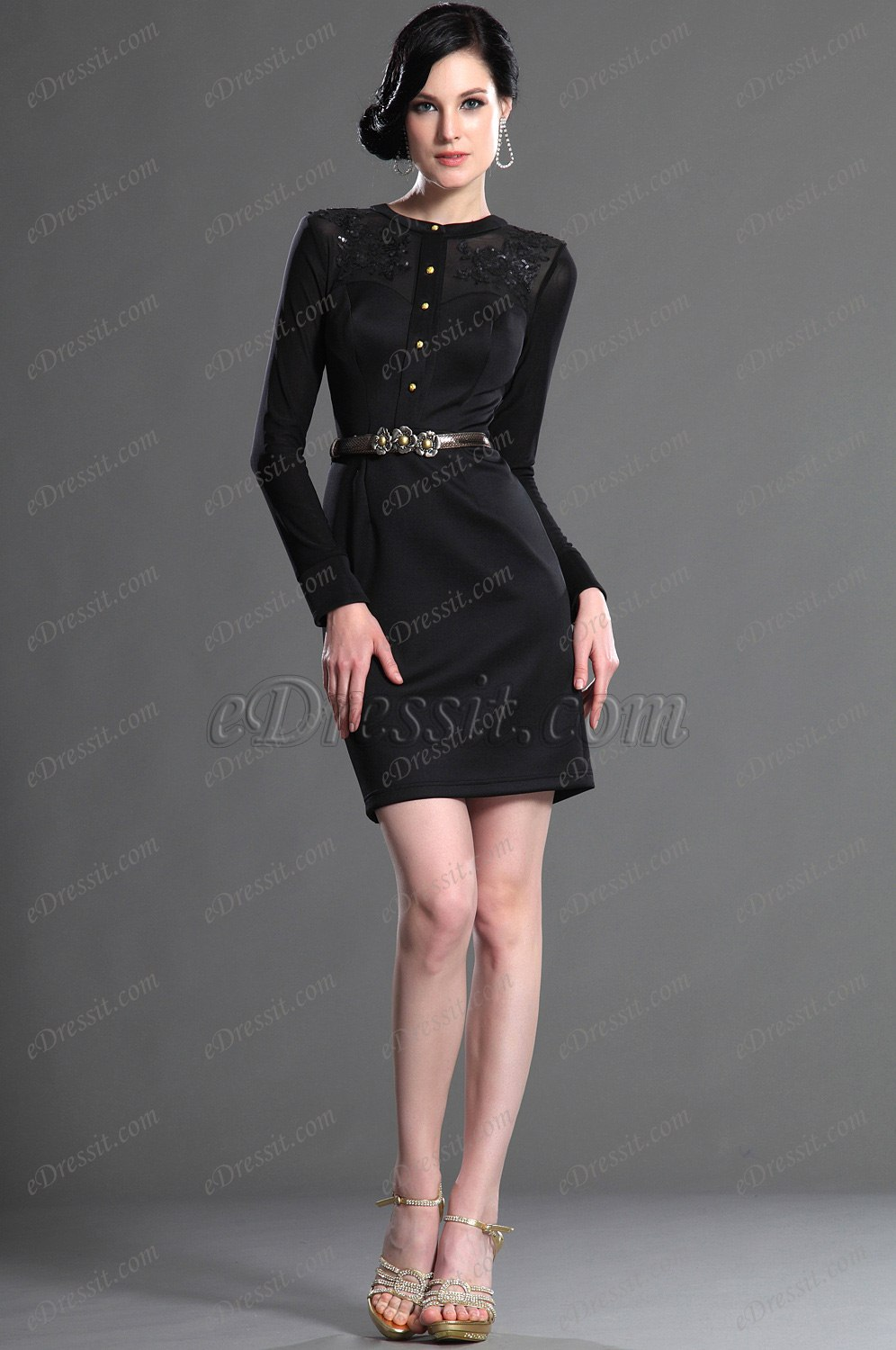 eDressit Long Sleeves Elegant Black Party Dress Day Dress (03122000)