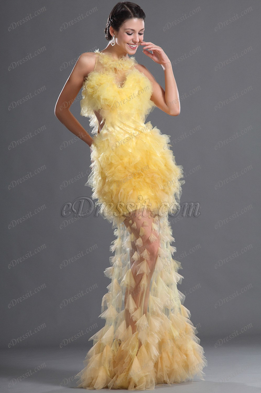eDressit De Tul Sexual Amarrillo Vestido de Noche (02121203)