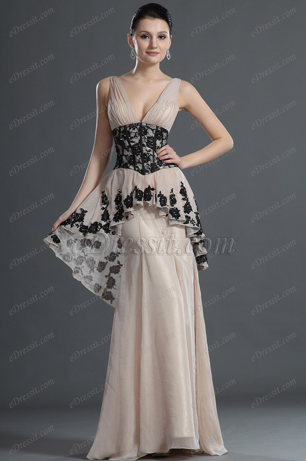 eDressit Charming V-Cut Black Lace Evening Dress (02120914)